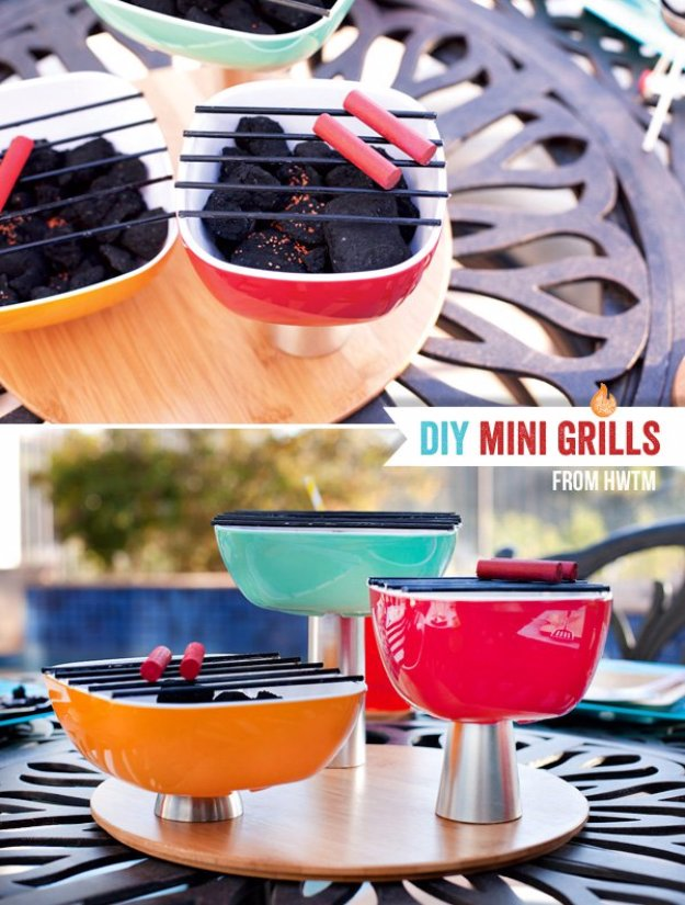 DIY Ideas to Get Your Backyard Ready for Summer - Mini Charcoal Grill Trio Centerpiece - Cool Ideas for the Yard This Summer. Furniture, Games and Fun Outdoor Decor both Adults and Kids Will Enjoy