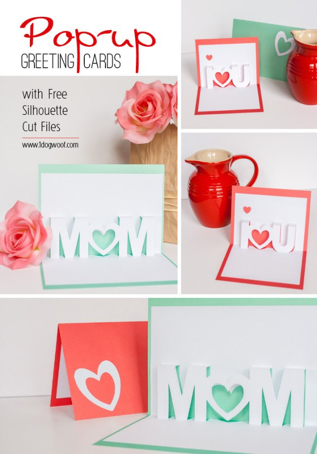 DIY Mothers Day Cards - Mom I Love You Pop-Up Cards - Creative and Thoughtful Homemade Card Ideas for Mom - Step by Step Tutorials, Best Quotes, Handmade Projects http://diyjoy.com/diy-mothers-day-cards