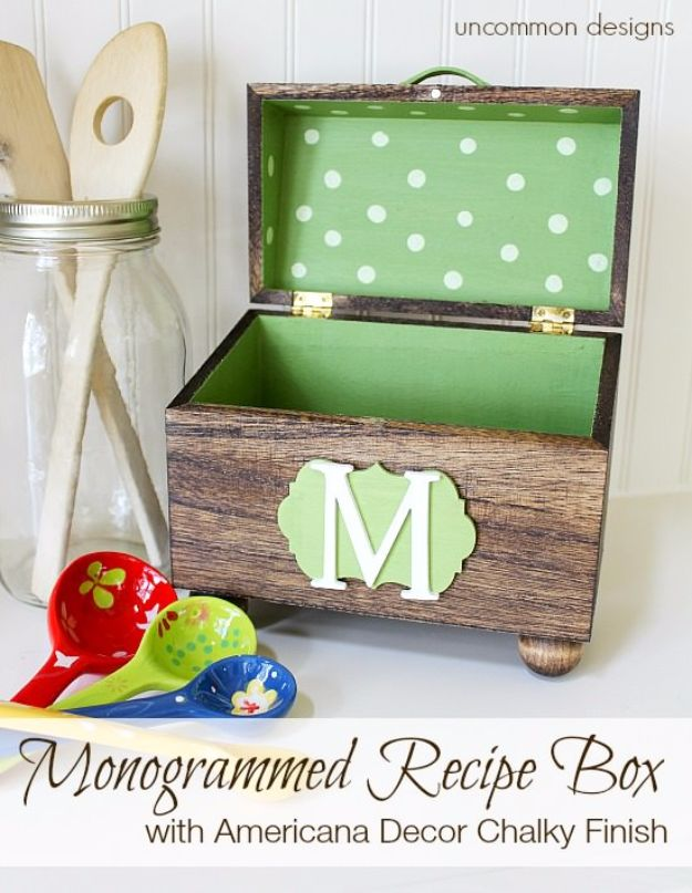 Creative DIY Mothers Day Gifts Ideas - Monogrammed Recipe Box - Thoughtful Homemade Gifts for Mom. Handmade Ideas from Daughter, Son, Kids, Teens or Baby - Unique, Easy, Cheap Do It Yourself Crafts To Make for Mothers Day, complete with tutorials and instructions #mothersday