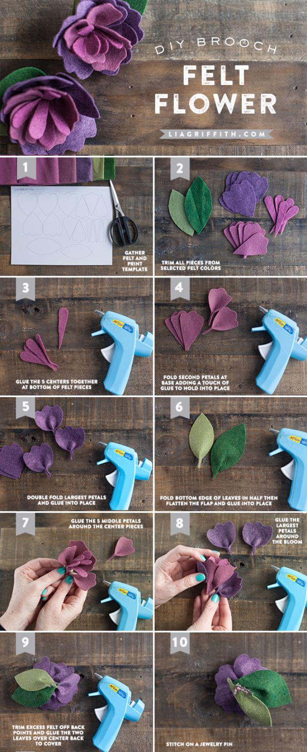 Creative DIY Mothers Day Gifts Ideas - Mother's Day Felt Flower - Thoughtful Homemade Gifts for Mom. Handmade Ideas from Daughter, Son, Kids, Teens or Baby - Unique, Easy, Cheap Do It Yourself Crafts To Make for Mothers Day, complete with tutorials and instructions #mothersday