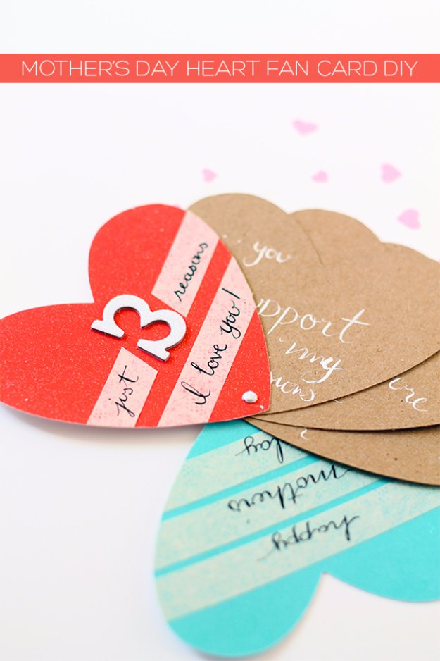 DIY Mothers Day Cards - Mother's Day Heart Fan Card DIY - Creative and Thoughtful Homemade Card Ideas for Mom - Step by Step Tutorials, Best Quotes, Handmade Projects http://diyjoy.com/diy-mothers-day-cards