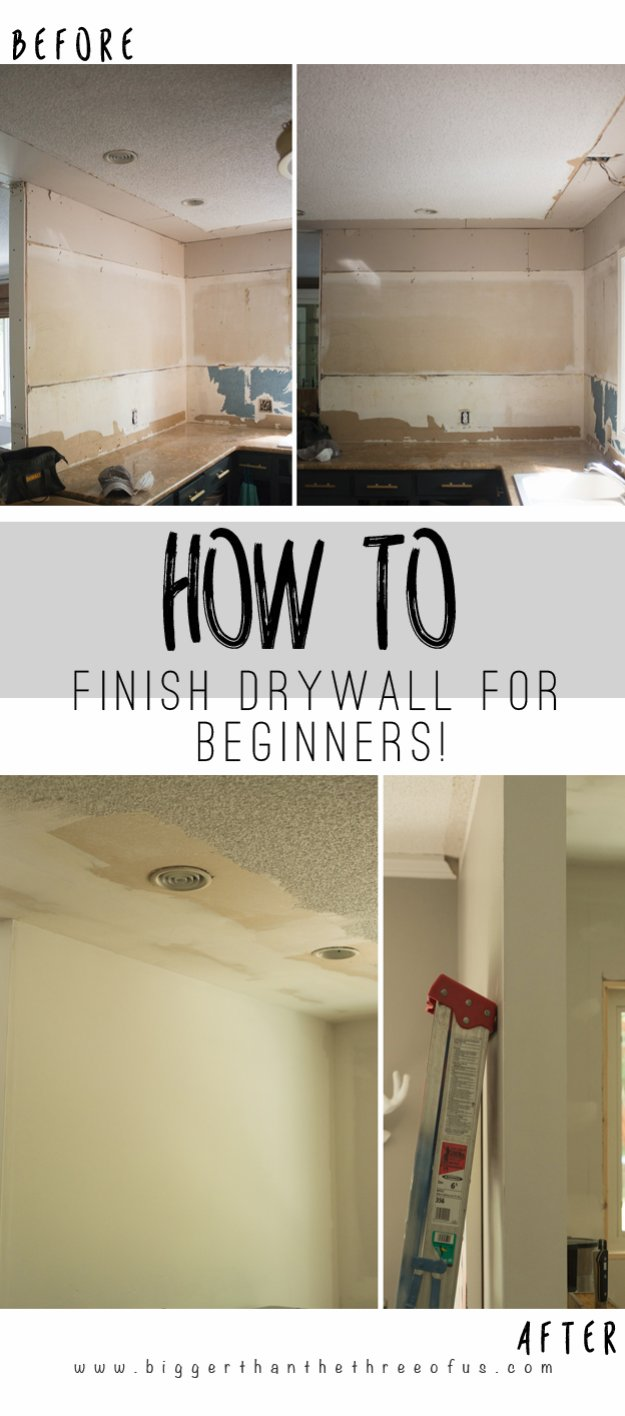 Home Improvement Hacks. - Mud a Dry Wall - Remodeling Ideas and DIY Home Improvement Made Easy With the Clever, Easy Renovation Ideas. Kitchen, Bathroom, Garage. Walls, Floors, Baseboards,Tile, Ceilings, Wood and Trim #diy #homeimprovement