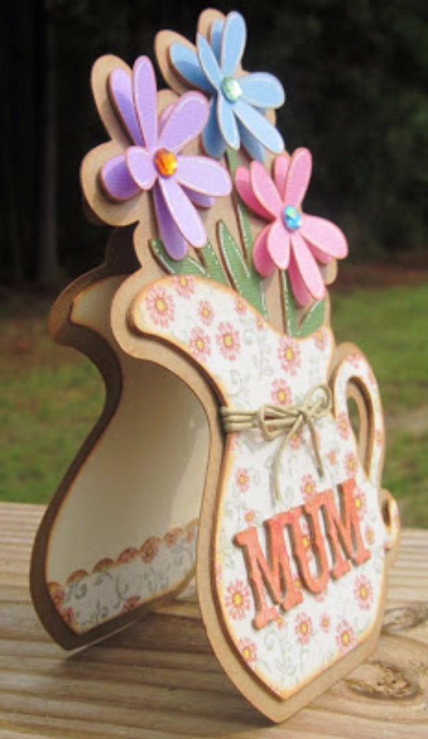 DIY Mothers Day Cards - Mum's the Word Shaped Card - Creative and Thoughtful Homemade Card Ideas for Mom - Step by Step Tutorials, Best Quotes, Handmade Projects