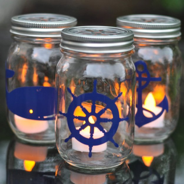 Mason Jar Ideas for Summer - Nautical Mason Jar Lantern Tutorial - Mason Jar Crafts, Decor and Gifts, Centerpieces and DIY Projects With Jars That Are Perfect For Summertime - Fun and Easy Lights, Cool Vases, Creative 4th of July Ideas