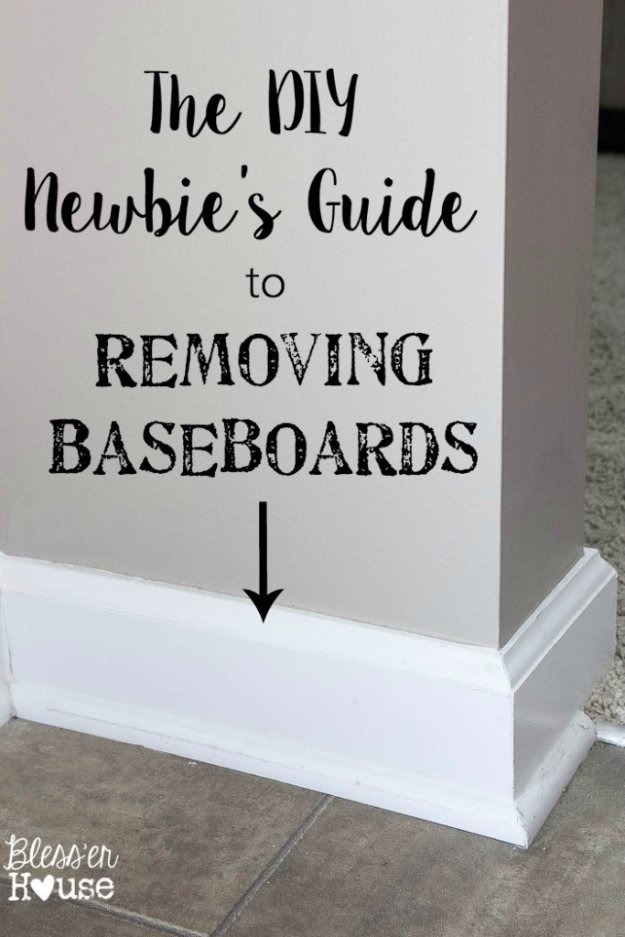 Home Improvement Hacks. - Newbie's Guide to Removing Baseboards - Remodeling Ideas and DIY Home Improvement Made Easy With the Clever, Easy Renovation Ideas. Kitchen, Bathroom, Garage. Walls, Floors, Baseboards,Tile, Ceilings, Wood and Trim. http://diyjoy.com/home-improvement-hacks