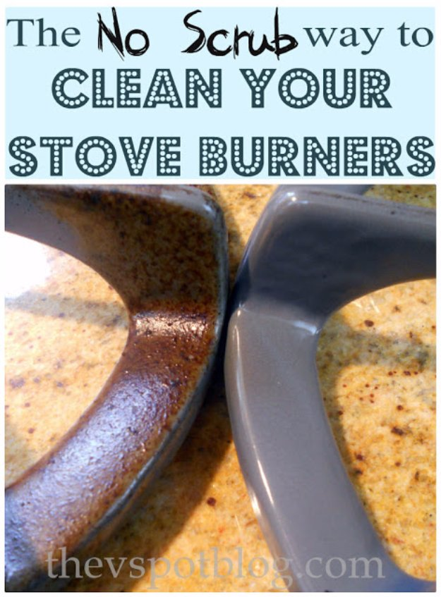 Cleaning Tips and Hacks To Keep Your Home Sparkling. No Scrub Way to Clean Your Stove Burners - Clever Ways to Make DYI Cleaning Easy. Bedroom, Bathroom, Kitchen, Garage, Floors, Countertops, Tub and Shower, Til, Laundry and Clothes