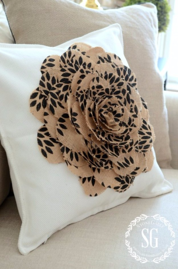 DIY Pillows and Creative Pillow Projects - No-Sew Burlap Flower Pillow - Decorative Cases and Covers, Throw Pillows, Cute and Easy Tutorials for Making Crafty Home Decor - Sewing Tutorials and No Sew Ideas