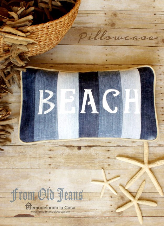 DIY Home Decor Projects for Summer - Old Jeans Beach Pillow - Creative Summery Ideas for Table, Kitchen, Wall Art and Indoor Decor for Summer