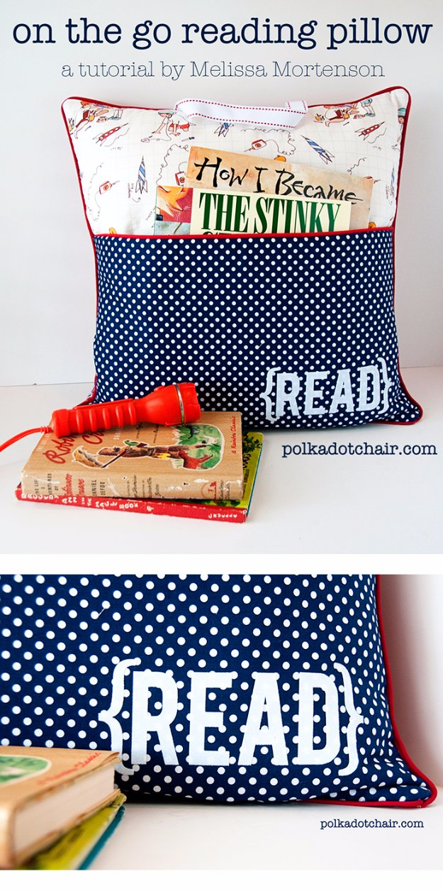 DIY Pillows and Creative Pillow Projects - On-the-Go Reading Pillow - Decorative Cases and Covers, Throw Pillows, Cute and Easy Tutorials for Making Crafty Home Decor - Sewing Tutorials and No Sew Ideas