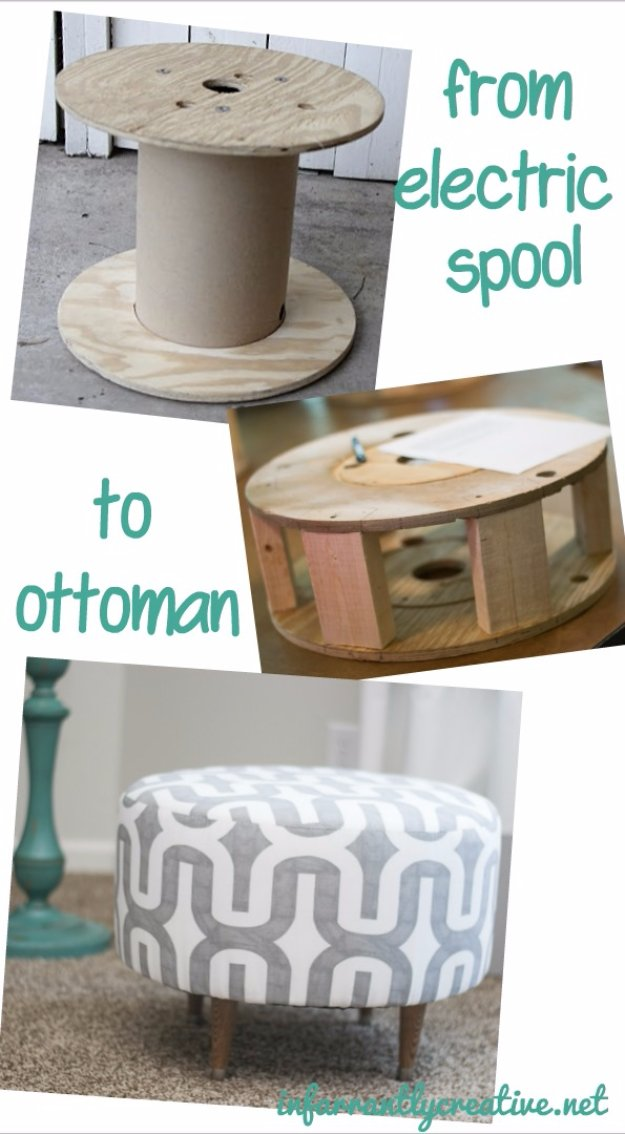Fabulous DIY Poufs and Ottomans - Ottoman Made From Electric Spool - Step by Step Tutorials and Easy Patterns for Cool Home Decor. Crochet, No Sew, Leather, Moroccan Boho, Knit and Fun Fur Projects and Chair Ideas http://diyjoy.com/diy-floor-poufs
