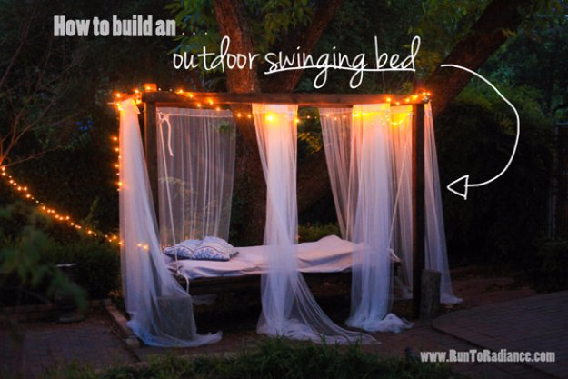 DIY Ideas to Get Your Backyard Ready for Summer - Outdoor Swinging Bed - Cool Ideas for the Yard This Summer. Furniture, Games and Fun Outdoor Decor both Adults and Kids Will Enjoy
