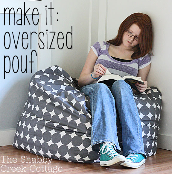 Fabulous DIY Poufs and Ottomans - Oversized pouf Inspired by West Elm - Step by Step Tutorials and Easy Patterns for Cool Home Decor. Crochet, No Sew, Leather, Moroccan Boho, Knit and Fun Fur Projects and Chair Ideas #diy #diyfurniture #sewing