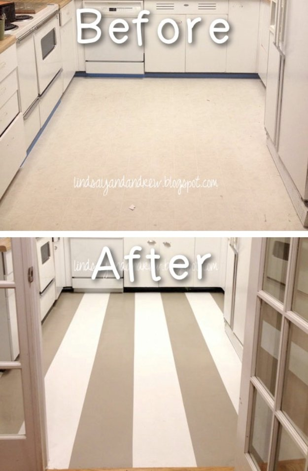 Home Improvement Hacks. - Paint Your Linoleum Floor - Remodeling Ideas and DIY Home Improvement Made Easy With the Clever, Easy Renovation Ideas. Kitchen, Bathroom, Garage. Walls, Floors, Baseboards,Tile, Ceilings, Wood and Trim. http://diyjoy.com/home-improvement-hacks