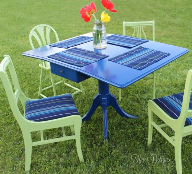 DIY Ideas to Get Your Backyard Ready for Summer - Painted Outdoor Dining Set - Cool Ideas for the Yard This Summer. Furniture, Games and Fun Outdoor Decor both Adults and Kids Will Enjoy