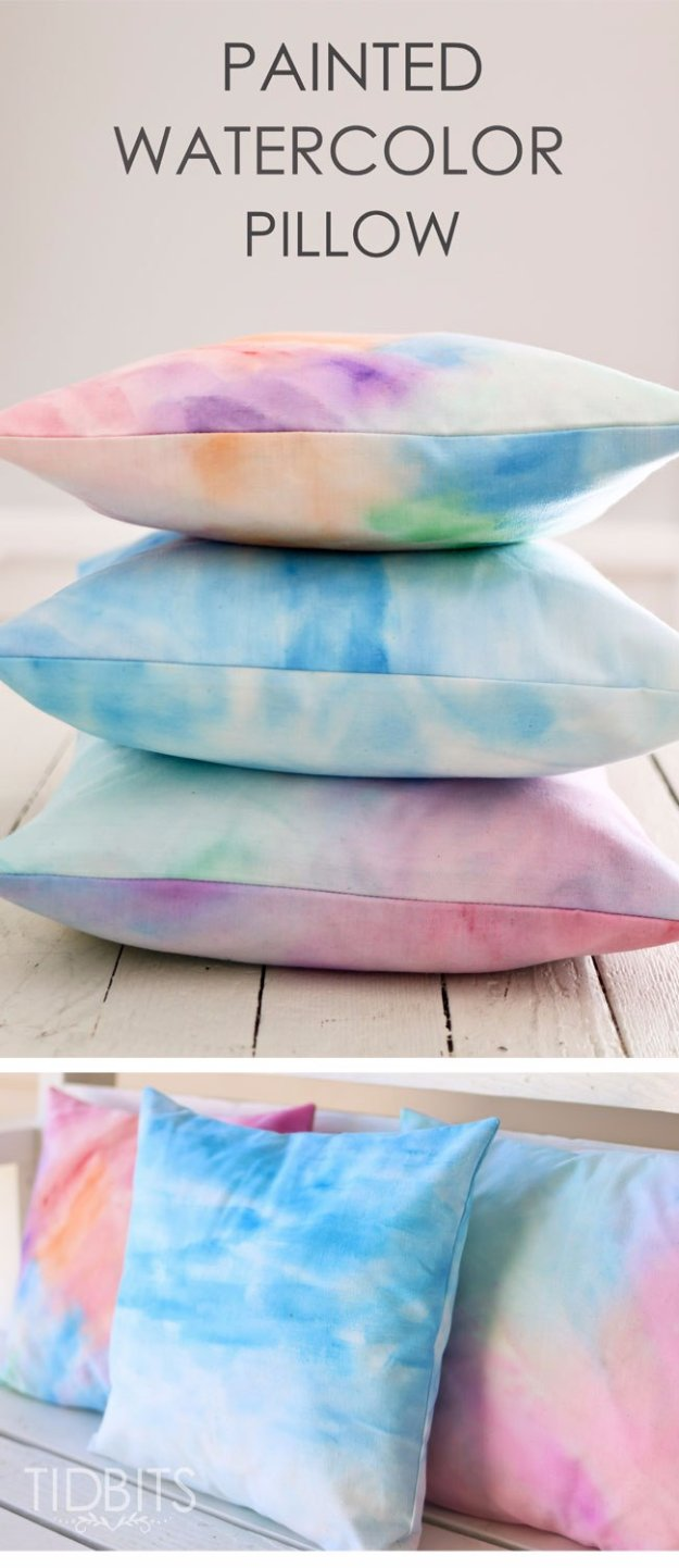 DIY Pillows and Creative Pillow Projects - Painted Watercolor Pillow With An Envelope Closure - Decorative & 37 DIY Pillows That Will Upgrade Your Decor In Minutes - Page 5 of ... pillowsntoast.com