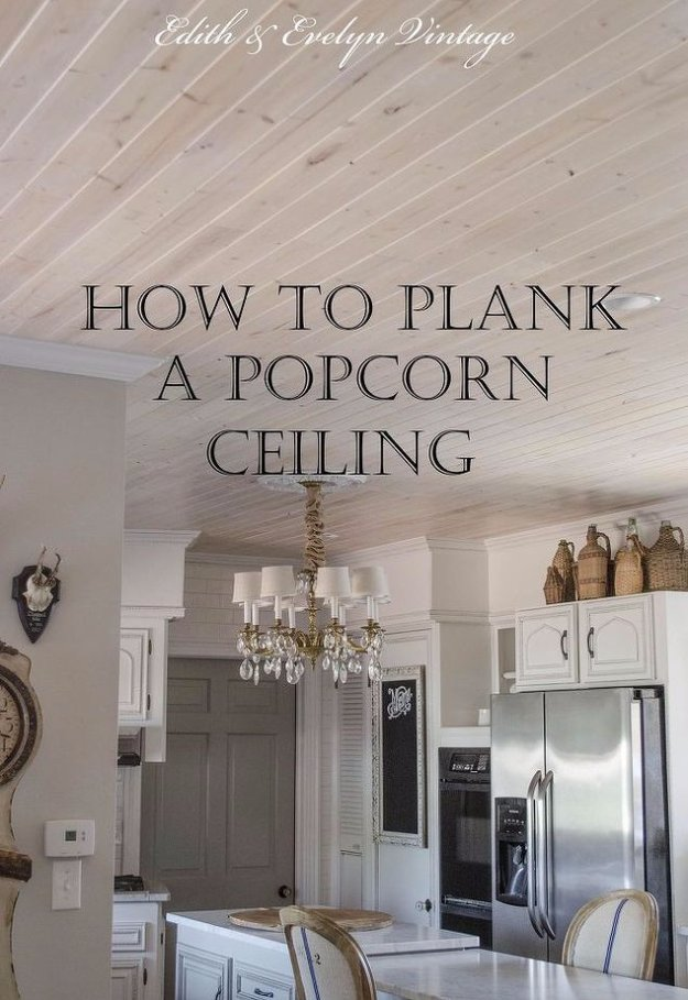 Home Improvement Hacks. - Plank a Popcorn Ceiling - Remodeling Ideas and DIY Home Improvement Made Easy With the Clever, Easy Renovation Ideas. Kitchen, Bathroom, Garage. Walls, Floors, Baseboards,Tile, Ceilings, Wood and Trim #diy #homeimprovement