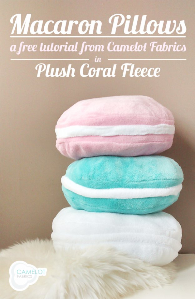 DIY Pillows and Creative Pillow Projects - Plush Coral Fleece Macaron Pillow Tutorial - Decorative Cases and Covers, Throw Pillows, Cute and Easy Tutorials for Making Crafty Home Decor - Sewing Tutorials and No Sew Ideas