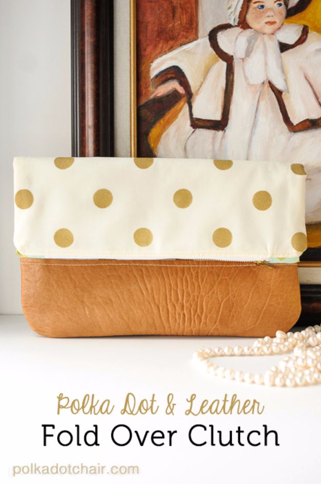 Creative DIY Mothers Day Gifts Ideas - Polka Dot Fold Over Clutch - Thoughtful Homemade Gifts for Mom. Handmade Ideas from Daughter, Son, Kids, Teens or Baby - Unique, Easy, Cheap Do It Yourself Crafts To Make for Mothers Day, complete with tutorials and instructions #mothersday