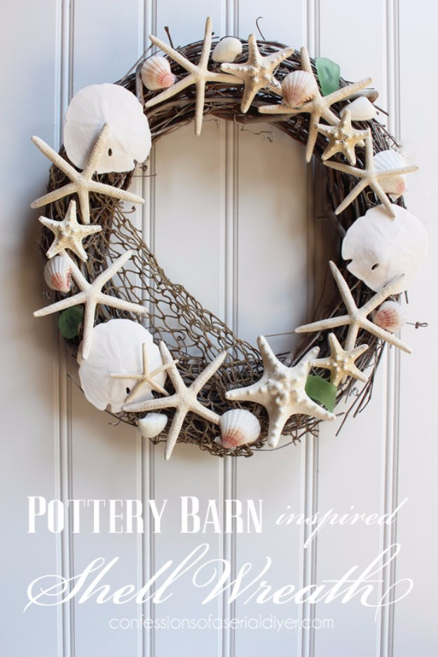 DIY Home Decor Projects for Summer -  Pottery Barn Inspired Shell Wreath - Creative Summery Ideas for Table, Kitchen, Wall Art and Indoor Decor for Summer