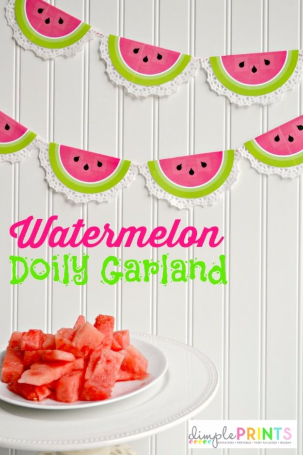 DIY Home Decor Projects for Summer - Printable Watermelon Doily Garland - Creative Summery Ideas for Table, Kitchen, Wall Art and Indoor Decor for Summer