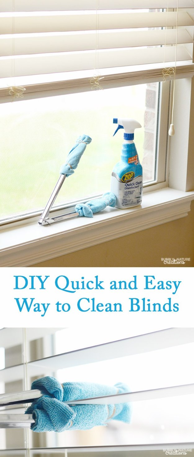 Cleaning Tips and Hacks To Keep Your Home Sparkling. Quick and Easy Way to Clean Blinds - Clever Ways to Make DYI Cleaning Easy. Bedroom, Bathroom, Kitchen, Garage, Floors, Countertops, Tub and Shower, Til, Laundry and Clothes