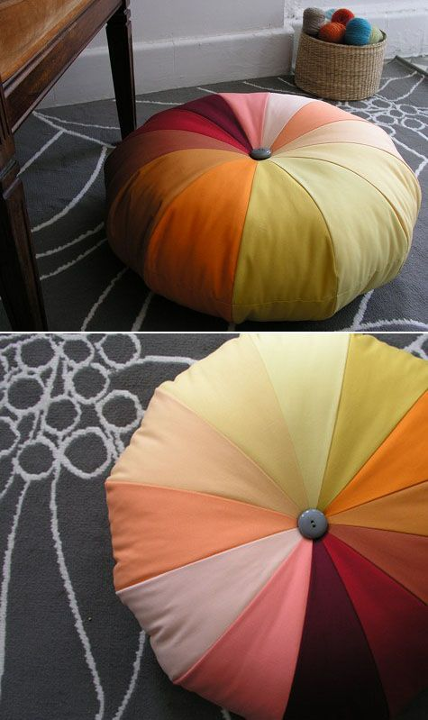 Fabulous DIY Poufs and Ottomans - Rainbow Pouf - Step by Step Tutorials and Easy Patterns for Cool Home Decor. Crochet, No Sew, Leather, Moroccan Boho, Knit and Fun Fur Projects and Chair Ideas #diy #diyfurniture #sewing