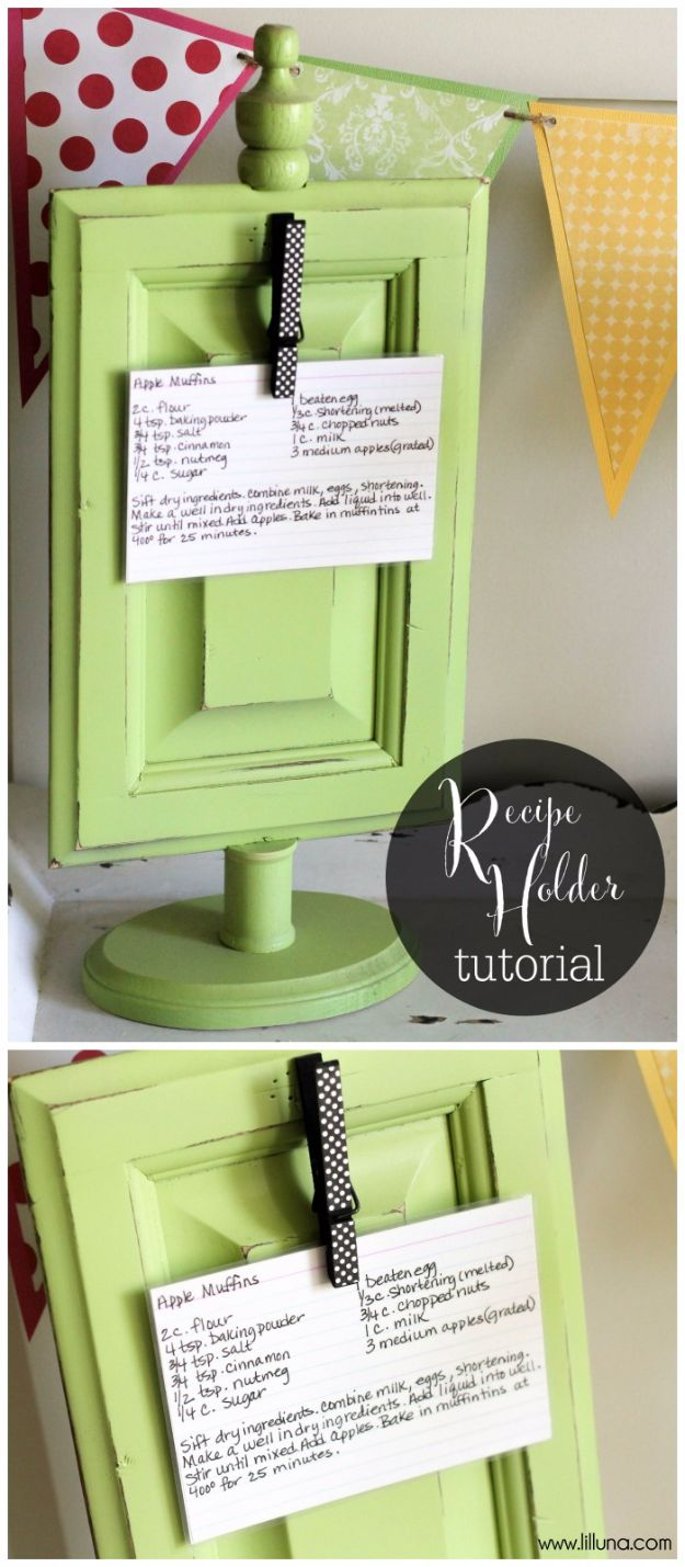 Creative DIY Mothers Day Gifts Ideas - Recipe Holder - Thoughtful Homemade Gifts for Mom. Handmade Ideas from Daughter, Son, Kids, Teens or Baby - Unique, Easy, Cheap Do It Yourself Crafts To Make for Mothers Day, complete with tutorials and instructions #mothersday