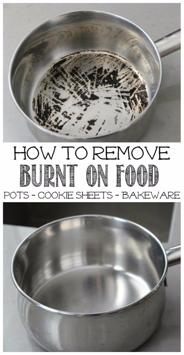 Cleaning Tips and Hacks To Keep Your Home Sparkling. Remove Burnt Food from Pots - Clever Ways to Make DYI Cleaning Easy. Bedroom, Bathroom, Kitchen, Garage, Floors, Countertops, Tub and Shower, Til, Laundry and Clothes