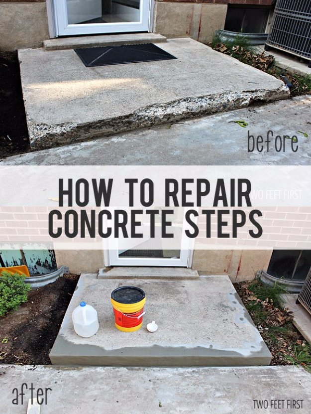 Home Improvement Hacks. - Repair Concrete Steps - Remodeling Ideas and DIY Home Improvement Made Easy With the Clever, Easy Renovation Ideas. Kitchen, Bathroom, Garage. Walls, Floors, Baseboards,Tile, Ceilings, Wood and Trim #diy #homeimprovement