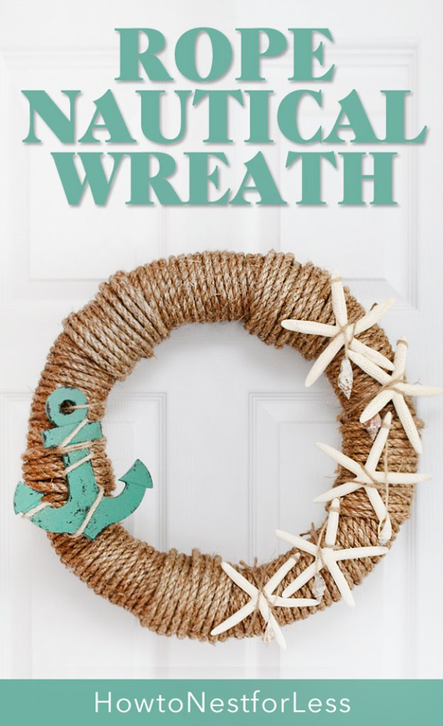 DIY Home Decor Projects for Summer - Rope Nautical Wreath - Creative Summery Ideas for Table, Kitchen, Wall Art and Indoor Decor for Summer