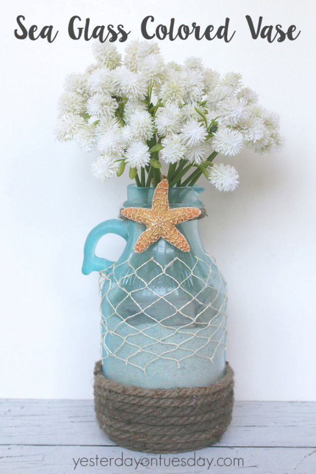 DIY Home Decor Projects for Summer - Sea Glass Colored Vase - Creative Summery Ideas for Table, Kitchen, Wall Art and Indoor Decor for Summer