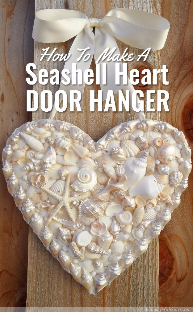 DIY Home Decor Projects for Summer - Seashell Heart Door Hanger - Creative Summery Ideas for Table, Kitchen, Wall Art and Indoor Decor for Summer