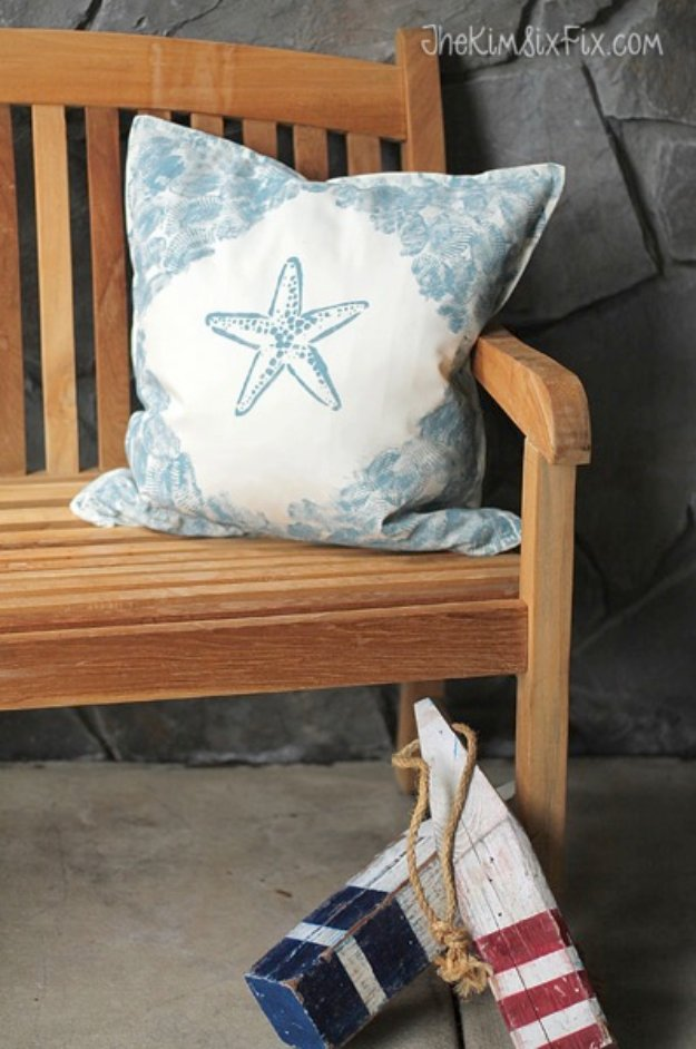 DIY Pillows and Creative Pillow Projects - Seashell Stamped Pillow Tutorial - Decorative Cases and Covers, Throw Pillows, Cute and Easy Tutorials for Making Crafty Home Decor - Sewing Tutorials and No Sew Ideas