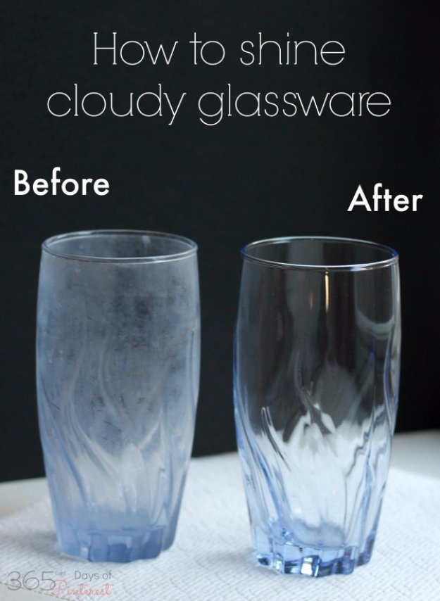 Cleaning Tips and Hacks To Keep Your Home Sparkling. Shine Cloudy Glassware - Clever Ways to Make DYI Cleaning Easy. Bedroom, Bathroom, Kitchen, Garage, Floors, Countertops, Tub and Shower, Til, Laundry and Clothes