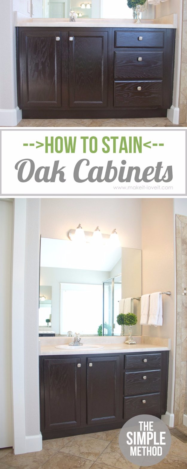 Home Improvement Hacks. - Stain Oak Cabinets Without Sanding - Remodeling Ideas and DIY Home Improvement Made Easy With the Clever, Easy Renovation Ideas. Kitchen, Bathroom, Garage. Walls, Floors, Baseboards,Tile, Ceilings, Wood and Trim #diy #homeimprovement