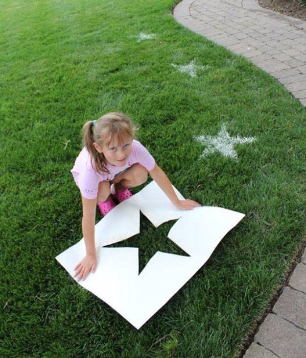 DIY Ideas to Get Your Backyard Ready for Summer - Stencil Your Yard For Festive Fun - Cool Ideas for the Yard This Summer. Furniture, Games and Fun Outdoor Decor both Adults and Kids Will Enjoy