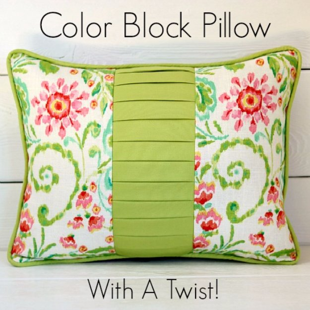 DIY Pillows and Creative Pillow Projects - Stunning Color Block Pillow With A Twist - Decorative Cases and Covers, Throw Pillows, Cute and Easy Tutorials for Making Crafty Home Decor - Sewing Tutorials and No Sew Ideas