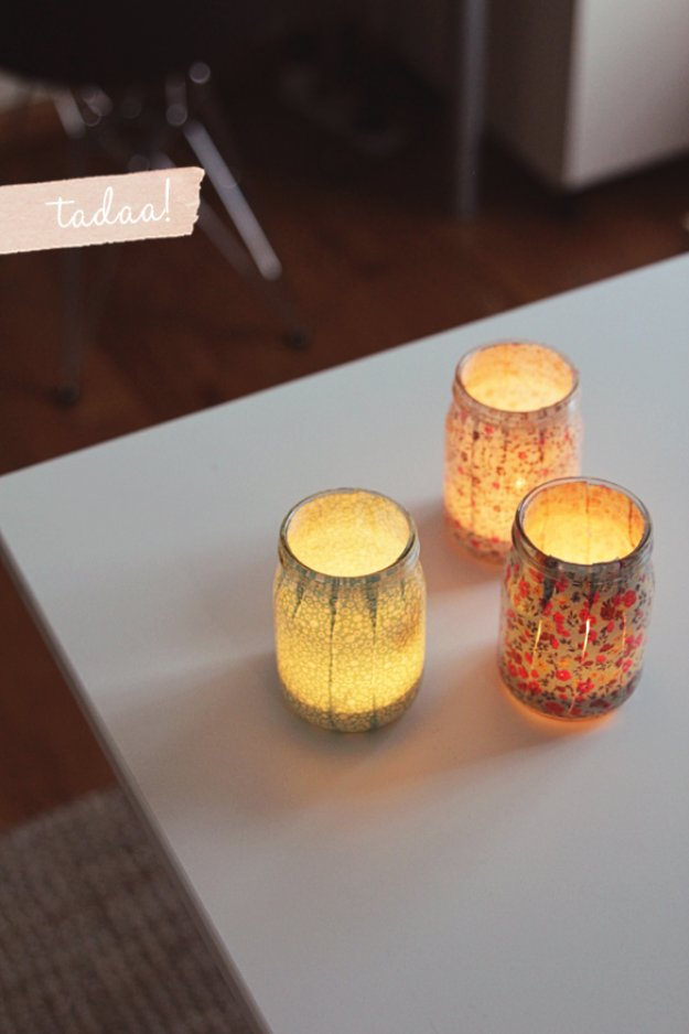 Mason Jar Ideas for Summer - Sweet DIY Mason Jar Votives - Mason Jar Crafts, Decor and Gifts, Centerpieces and DIY Projects With Jars That Are Perfect For Summertime - Fun and Easy Lights, Cool Vases, Creative 4th of July Ideas