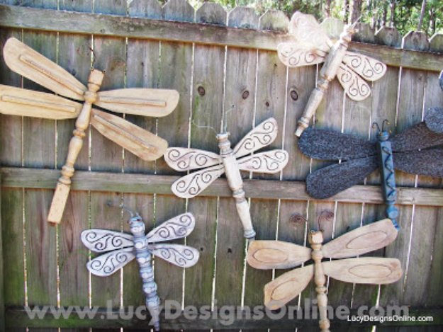 DIY Ideas to Get Your Backyard Ready for Summer - Table Leg Dragonflies with Ceiling Fan Blade Wings - Cool Ideas for the Yard This Summer. Furniture, Games and Fun Outdoor Decor both Adults and Kids Will Enjoy