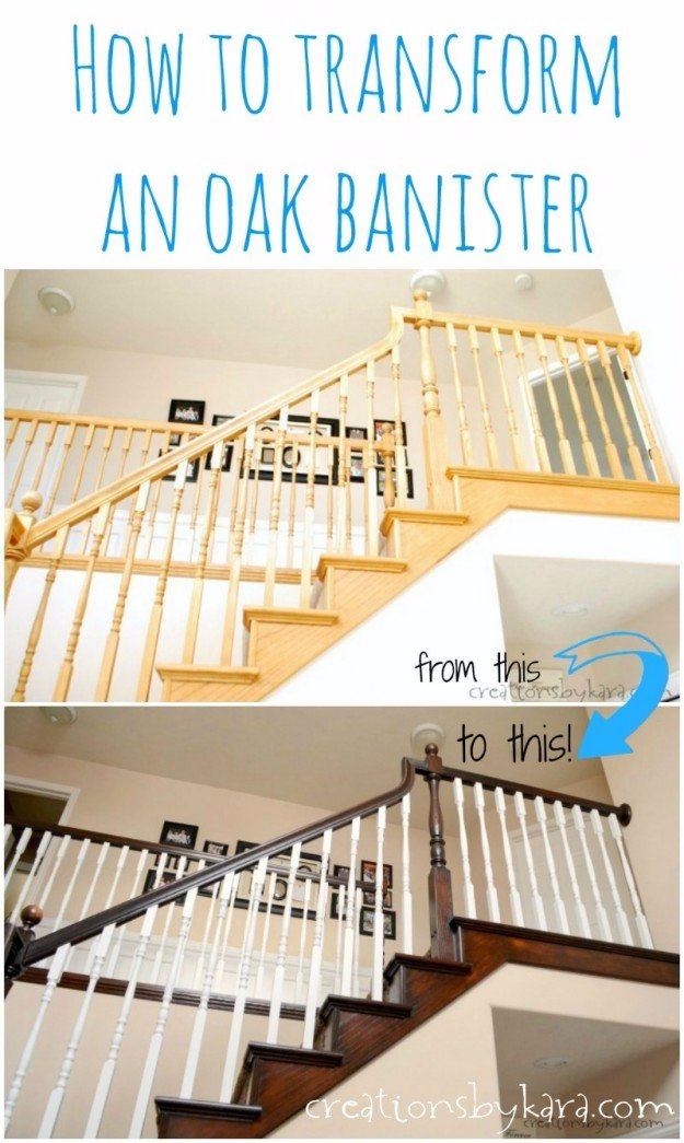 Home Improvement Hacks. - Transform an Oak Banister - Remodeling Ideas and DIY Home Improvement Made Easy With the Clever, Easy Renovation Ideas. Kitchen, Bathroom, Garage. Walls, Floors, Baseboards,Tile, Ceilings, Wood and Trim. http://diyjoy.com/home-improvement-hacks