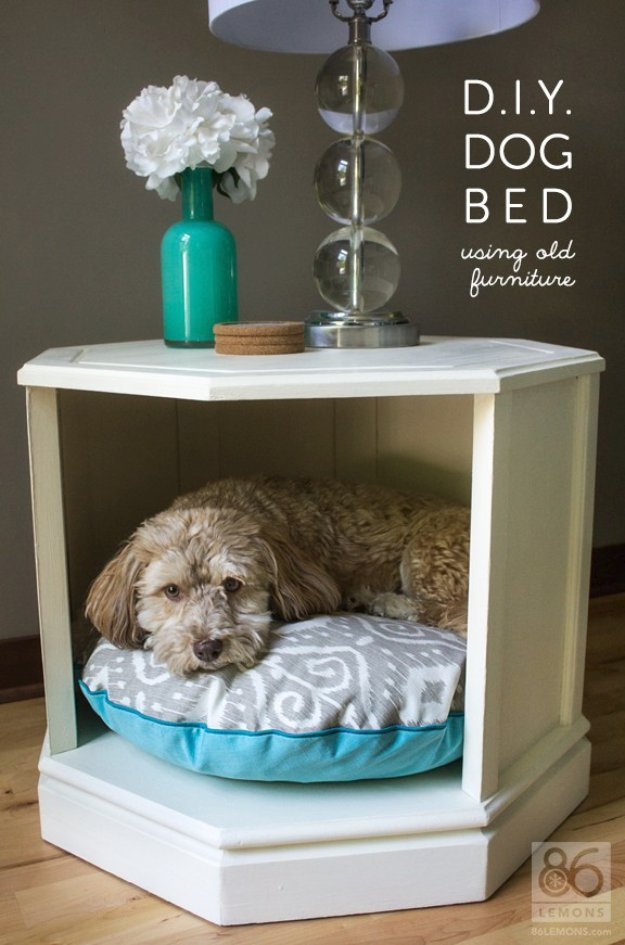 DIY Dog Beds - Upcycled Side Table DIY Dog Bed - Projects and Ideas for Large, Medium and Small Dogs. Cute and Easy No Sew Crafts for Your Pets. Pallet, Crate, PVC and End Table Dog Bed Tutorials #pets #diypet #dogs #diyideas