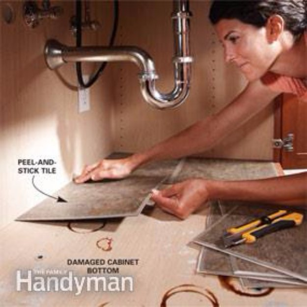 Home Improvement Hacks. - Use Peel-and-Stick Tiles to Spruce Up Storage Areas - Remodeling Ideas and DIY Home Improvement Made Easy With the Clever, Easy Renovation Ideas. Kitchen, Bathroom, Garage. Walls, Floors, Baseboards,Tile, Ceilings, Wood and Trim. http://diyjoy.com/home-improvement-hacks