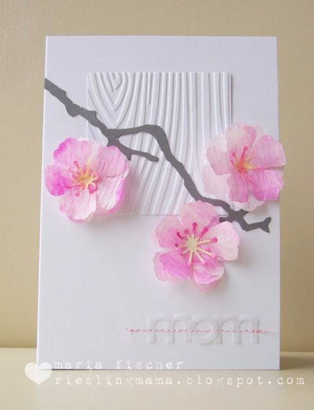 DIY Mothers Day Cards - Watercolored Cherry Blossoms Card - Creative and Thoughtful Homemade Card Ideas for Mom - Step by Step Tutorials, Best Quotes, Handmade Projects