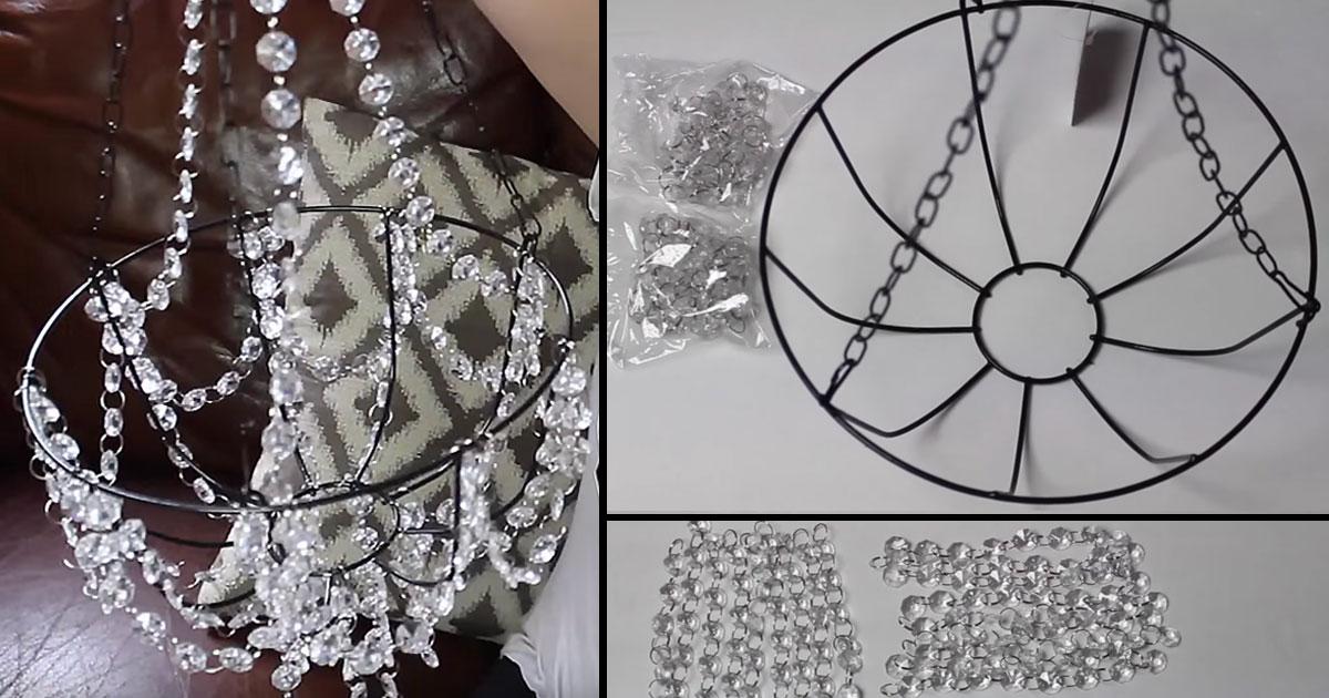 Dollar Store Craft Idea: Beaded Chandelier