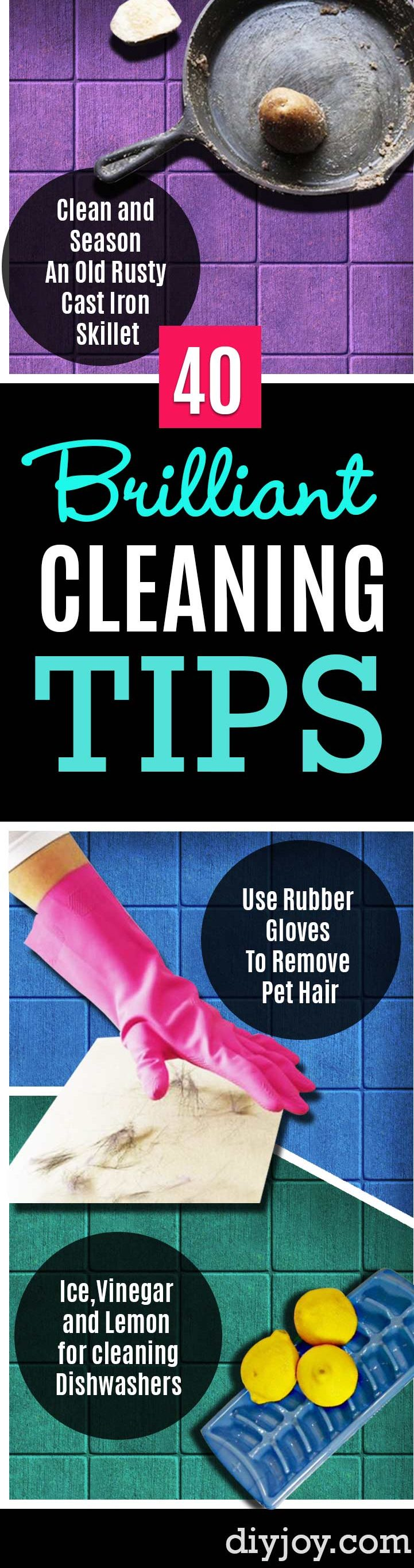 Cleaning Tips and Hacks To Keep Your Home Sparkling- Clever Ways to Make DYI Cleaning Easy. Bedroom, Bathroom, Kitchen, Garage, Floors, Countertops, Tub and Shower, Til, Laundry and Clothes