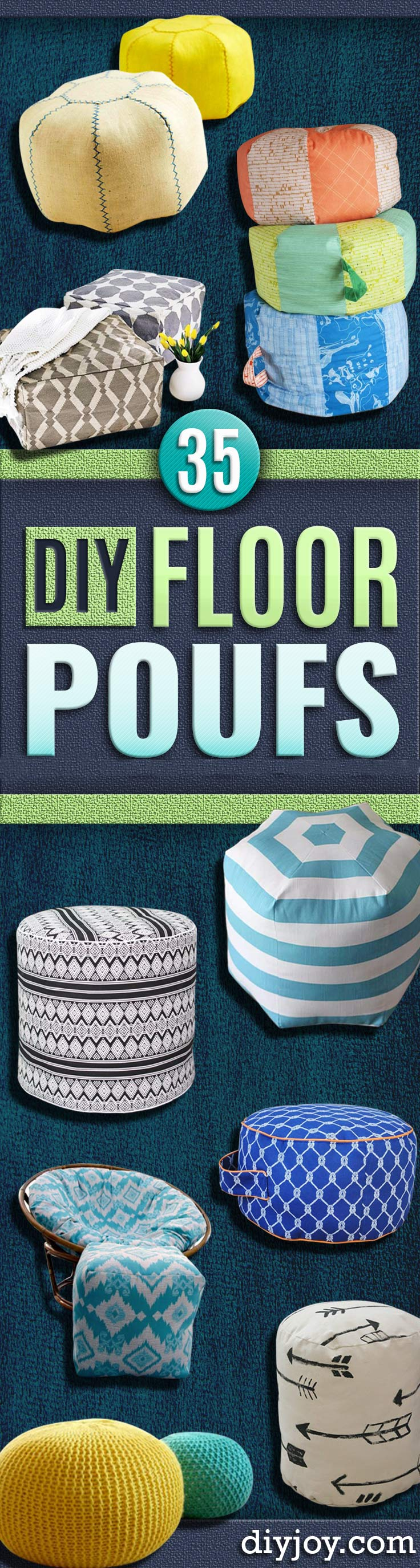 DIY Poufs and Ottomans - Step by Step Tutorials and Easy Patterns for Cool Home Decor. Crochet, No Sew, Leather, Moroccan Boho, Knit and Fun Fur Projects and Chair Ideas for Living Room #diy #furniture #livingroom