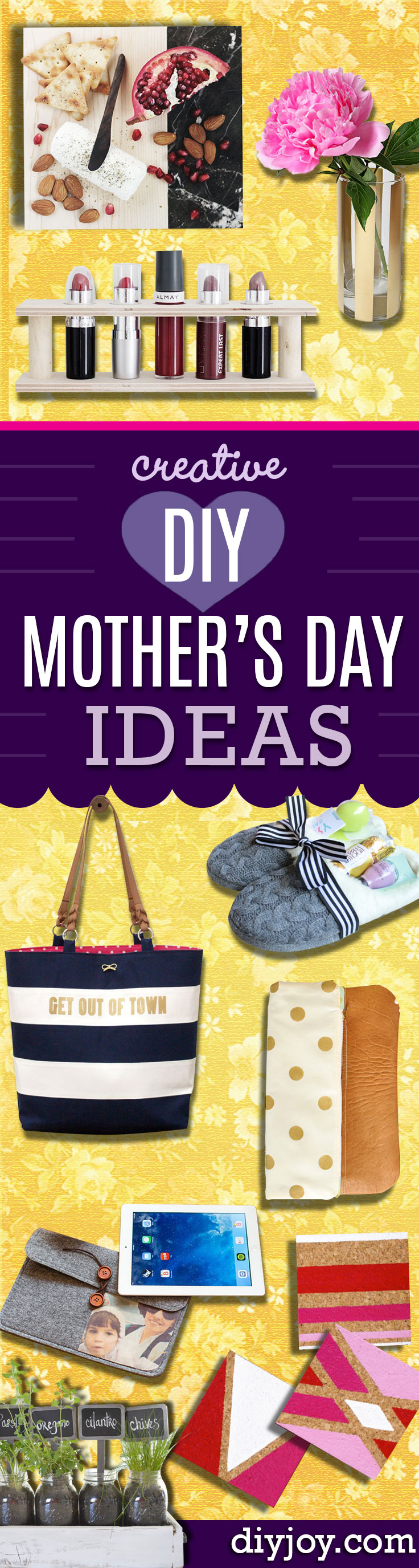 DIY Mothers Day Gifts Ideas - Thoughtful Homemade Gifts for Mom. Handmade Ideas from Daughter, Son, Kids, Teens or Baby - Unique, Easy, Cheap Do It Yourself Crafts To Make for Mothers Day, complete with tutorials and instructions