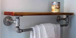 DIY Rustic Iron Towel Rack and Shelf