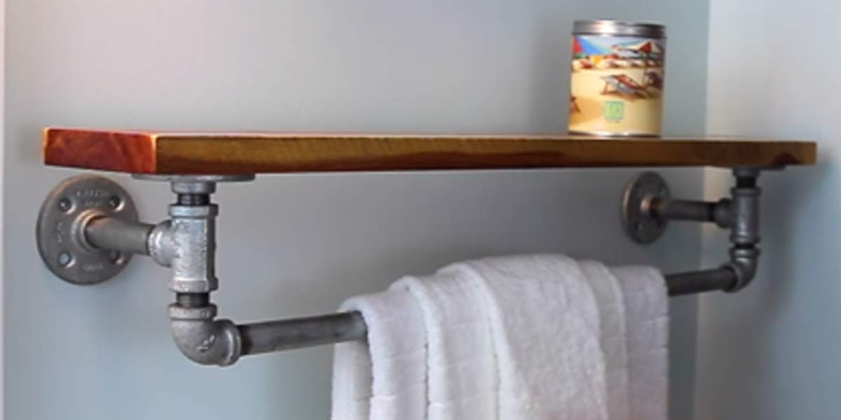 Fabulously Unique Diy Rustic Iron Towel Rack And Shelf