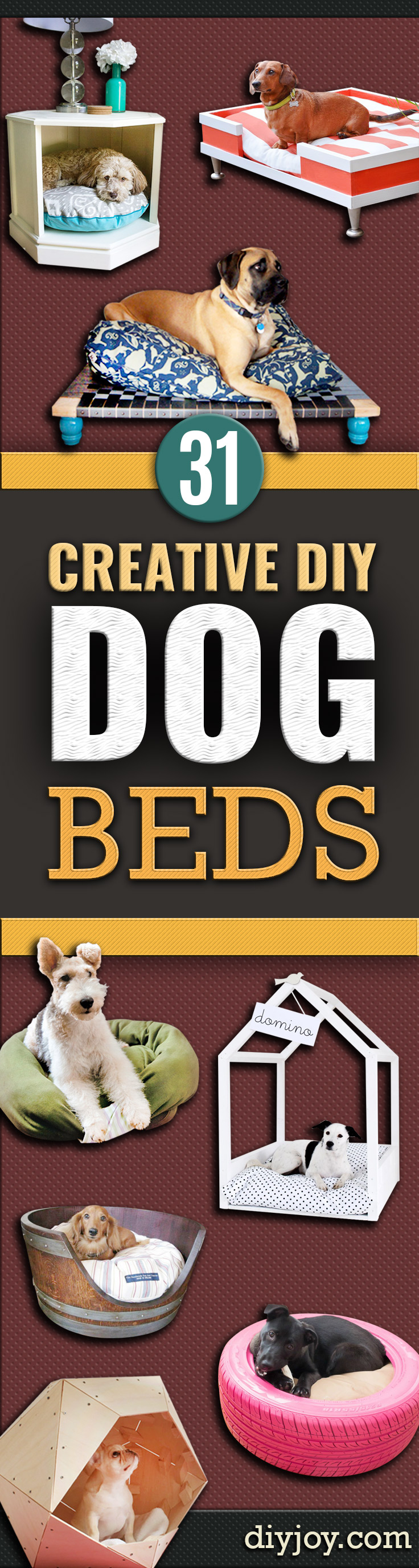 DIY Dog Beds - DYI Pet Projects and Homemade Bed Ideas for Large, Medium and Small Dogs - Cute and Easy No Sew Crafts for Your Pets. Pallet, Crate, PVC and End Table Dog Bed Tutorials